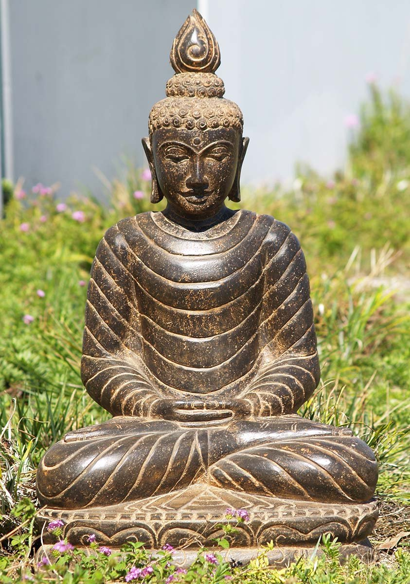 stone meditating garden buddha statue 29 85ls108. Black Bedroom Furniture Sets. Home Design Ideas