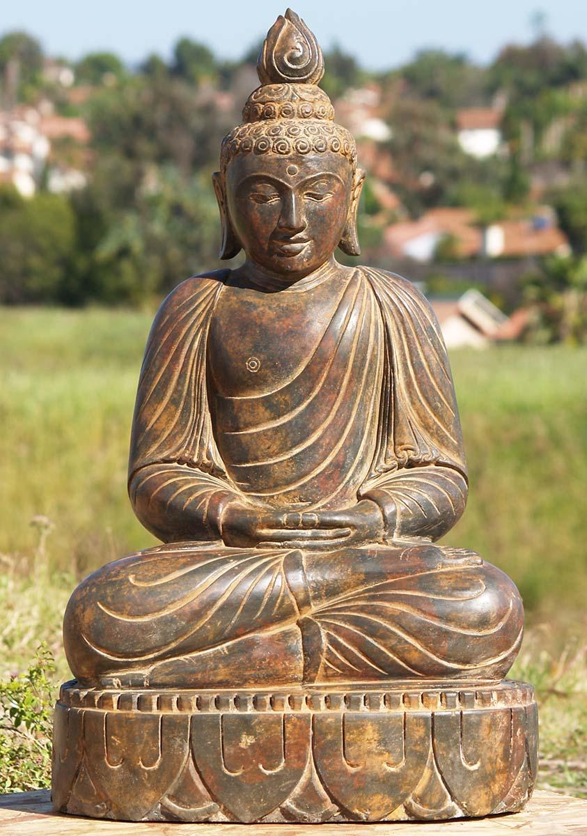 "Buddha Statues For The Garden: SOLD Meditating Garden Buddha Stone Statue 32"" (#83ls49"