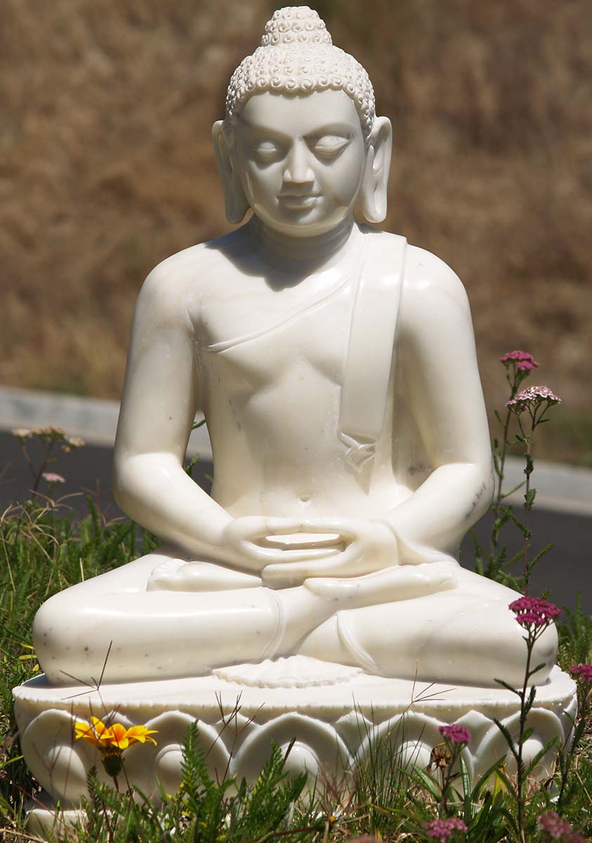 Sold Meditating Buddha White Marble Statue 25 Quot 71wm11