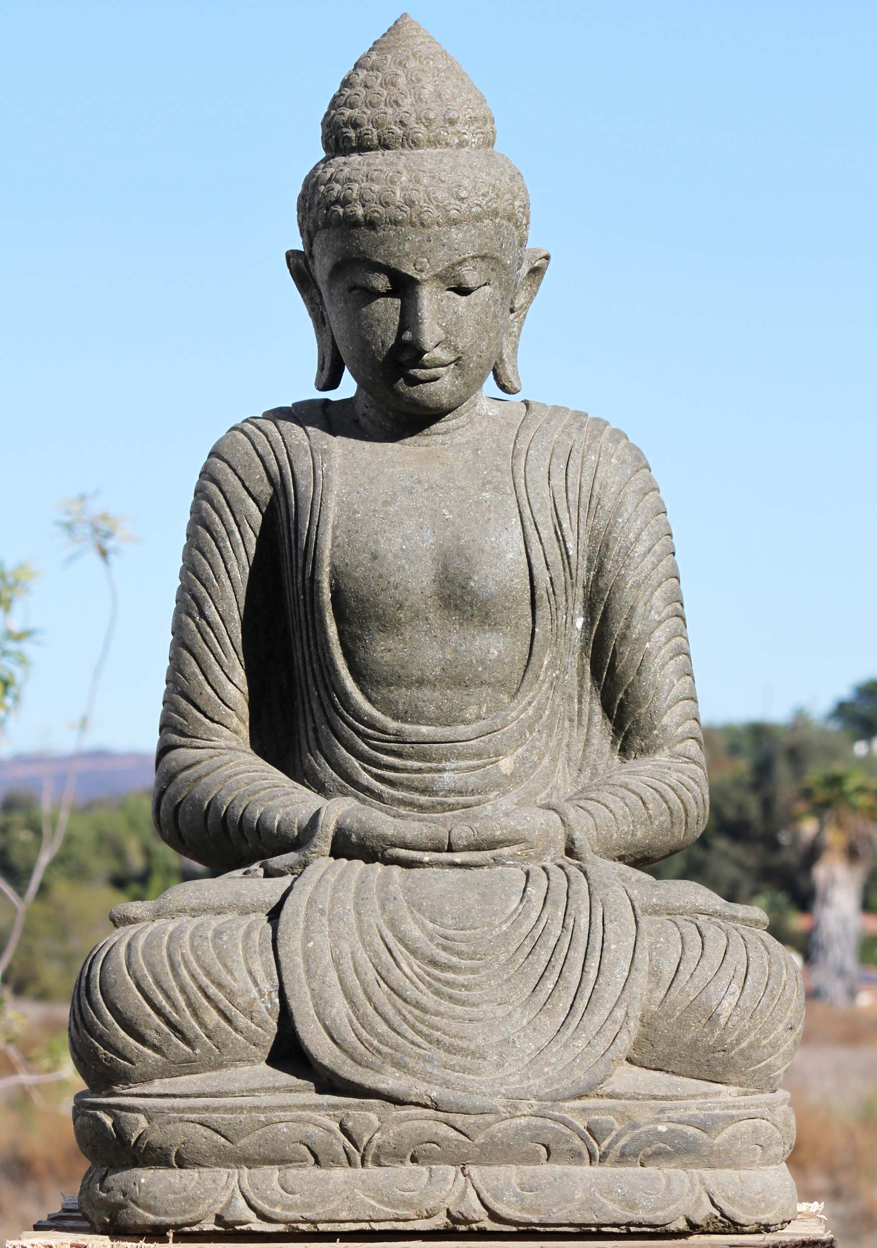 "Ups Ground Shipping Time >> SOLD Stone Meditating Garden Buddha Statue 41"" (#86ls203 ..."