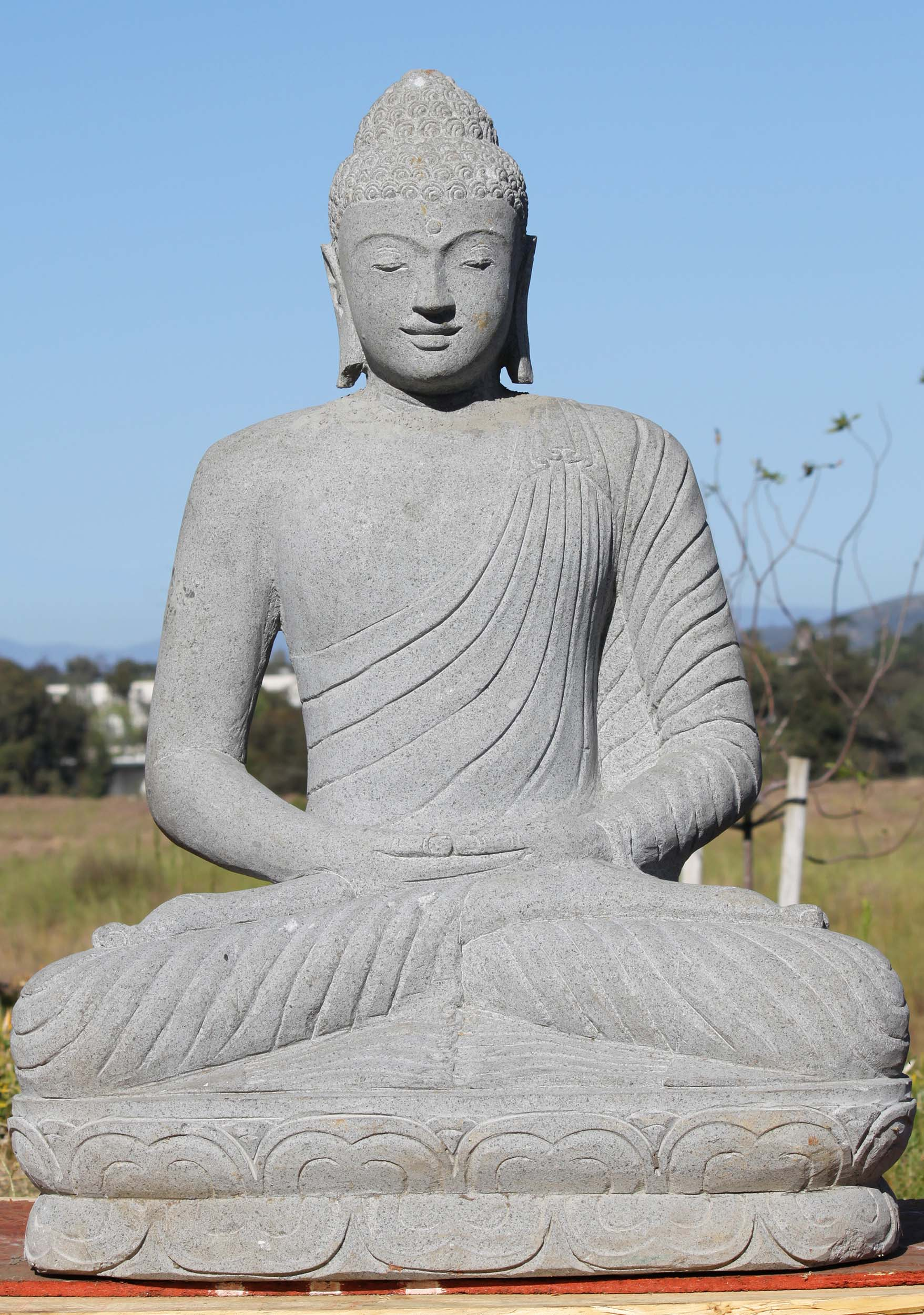 Sold stone meditating garden buddha statue 40 52ls41 for Outdoor buddha
