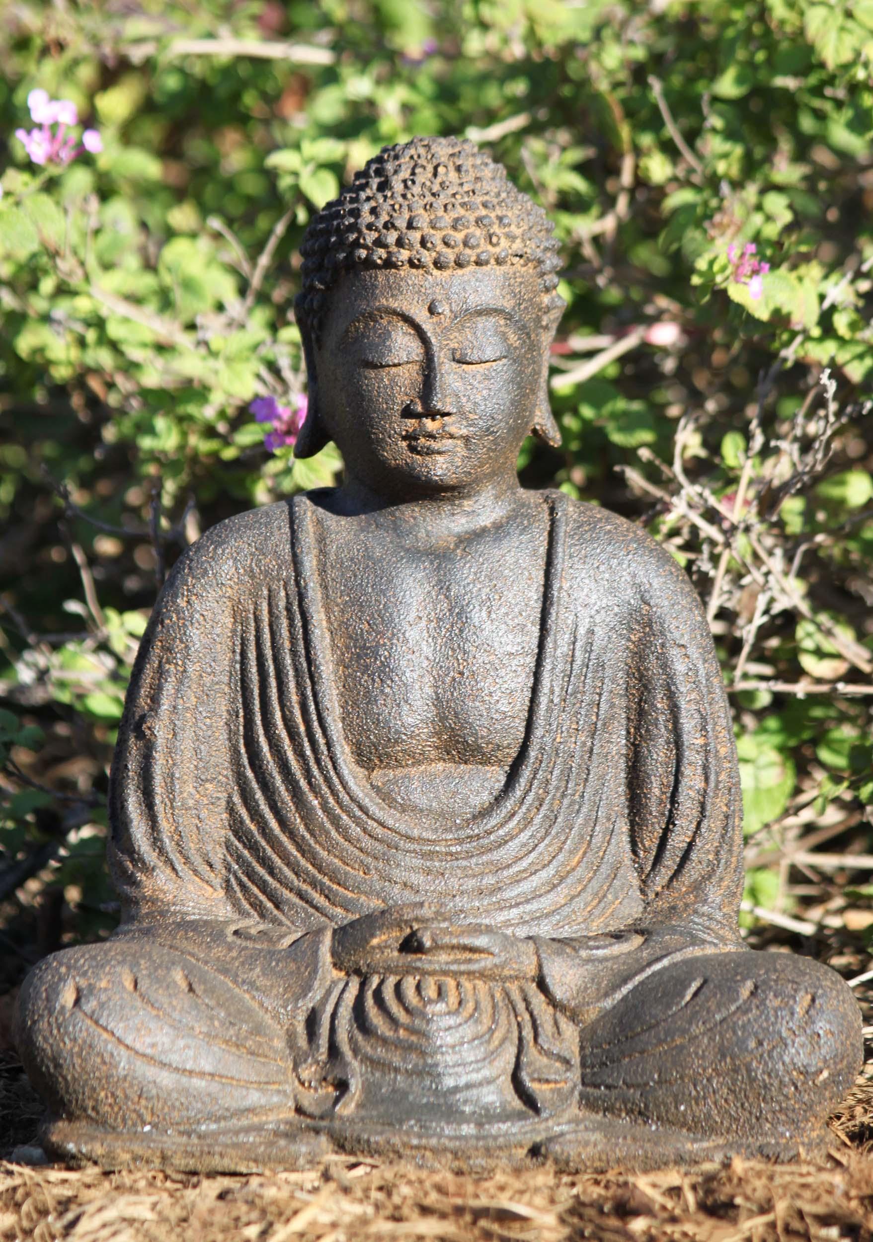 "Stone Meditating Garden Buddha Statue 8"" (#67vc1a): Hindu ..."