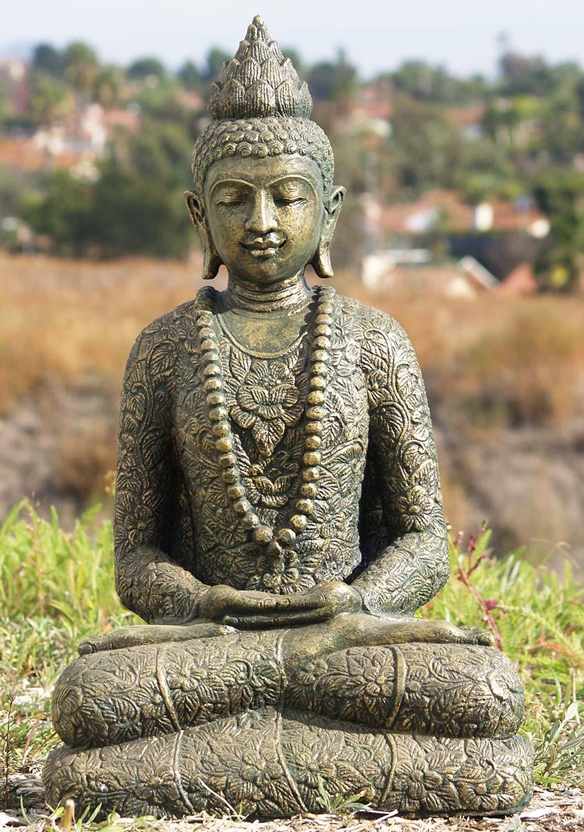 Sold Stone Garden Batik Robe Buddha Sculpture 25