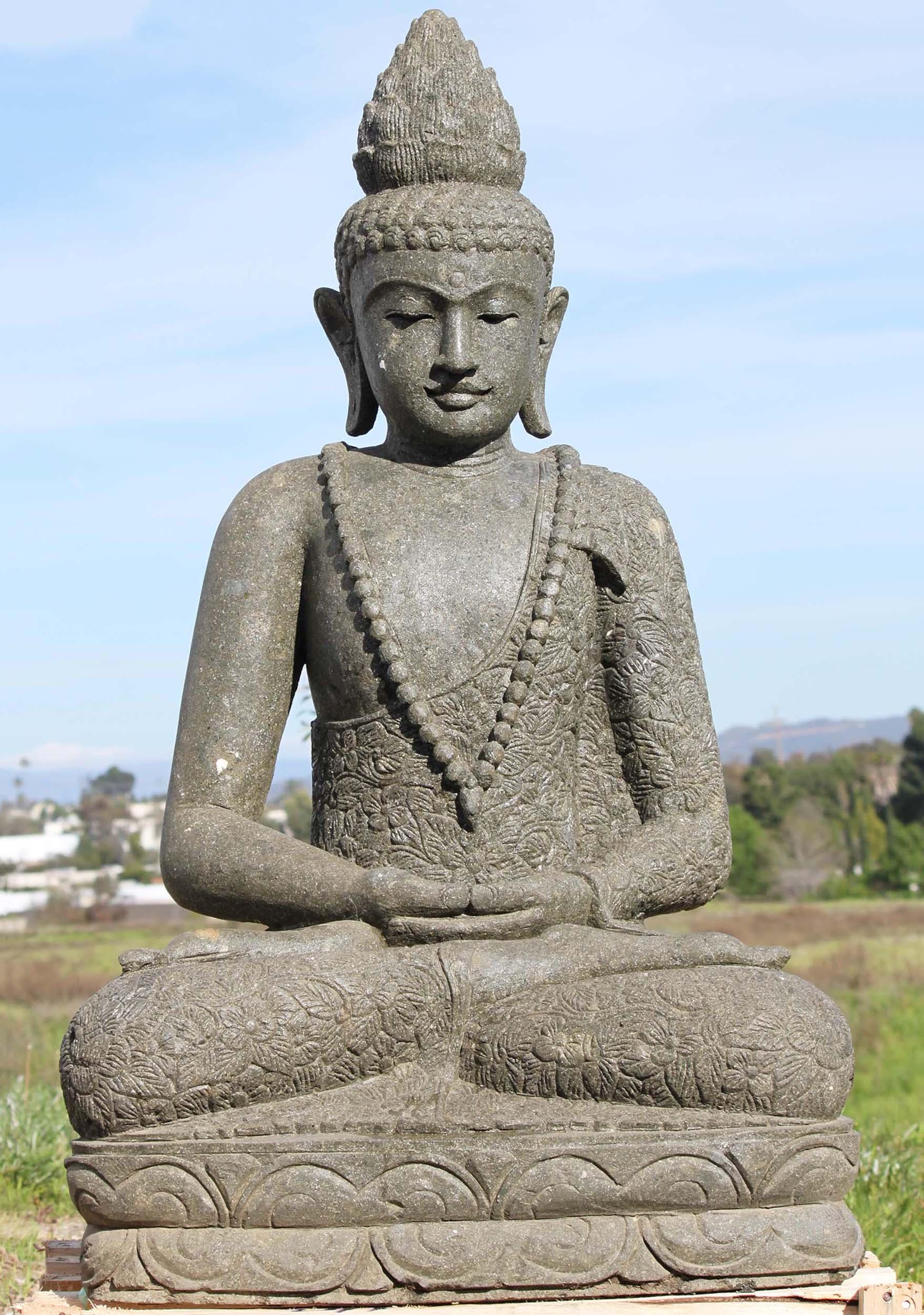 Sold stone meditating buddha garden statue 48 97ls297 for Outdoor buddha