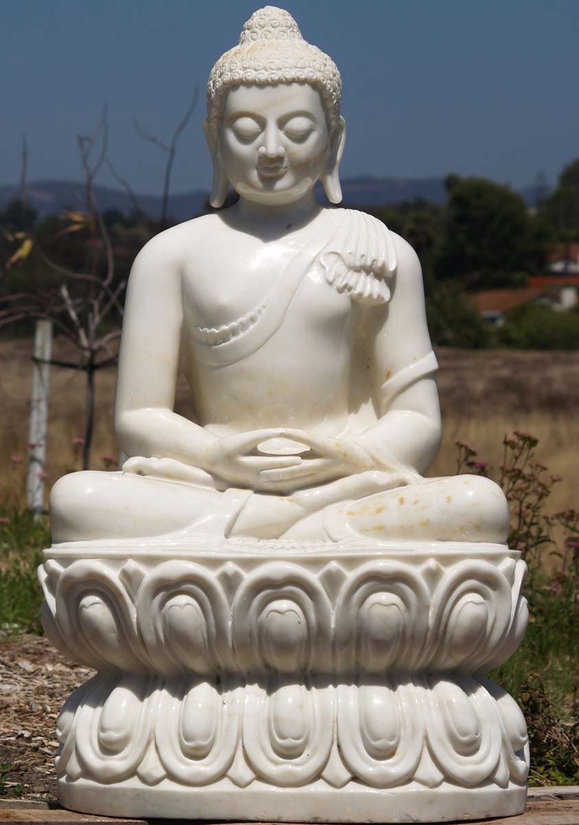 Sold Meditating White Marble Buddha Sculpture 36 Quot 71wm9a