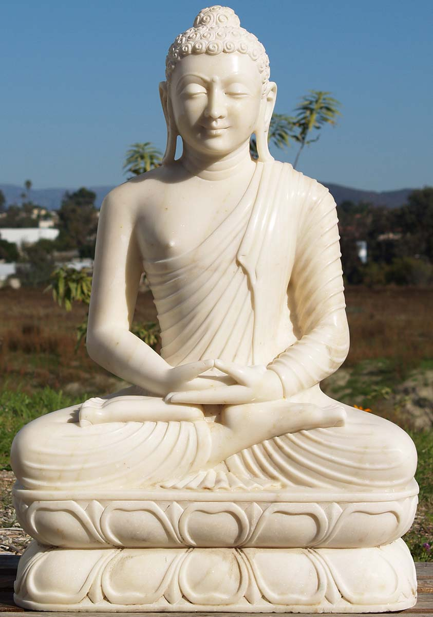 White Marble Statue : Sold meditating white marble buddha quot wm hindu