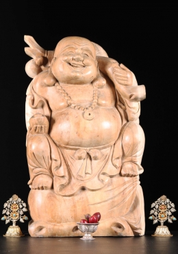 Wood Hotei Buddha Statue On Bag Of Gold 24