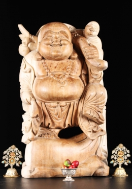 Wood Buddha with a Child On His Shoulder 24