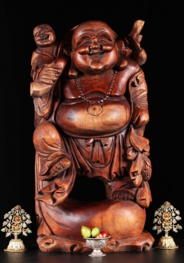 Wood Happy Buddha with Child On Shoulder 24