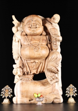 Wood Buddha With One Left Child On Shoulder 24