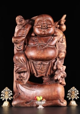 Wood Buddha of Wealth Statue with Child 24