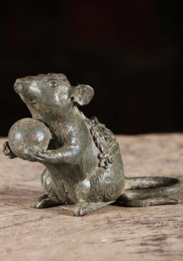 Brass Statue of Mooshika, Ganesha's Rat Vehicle 4