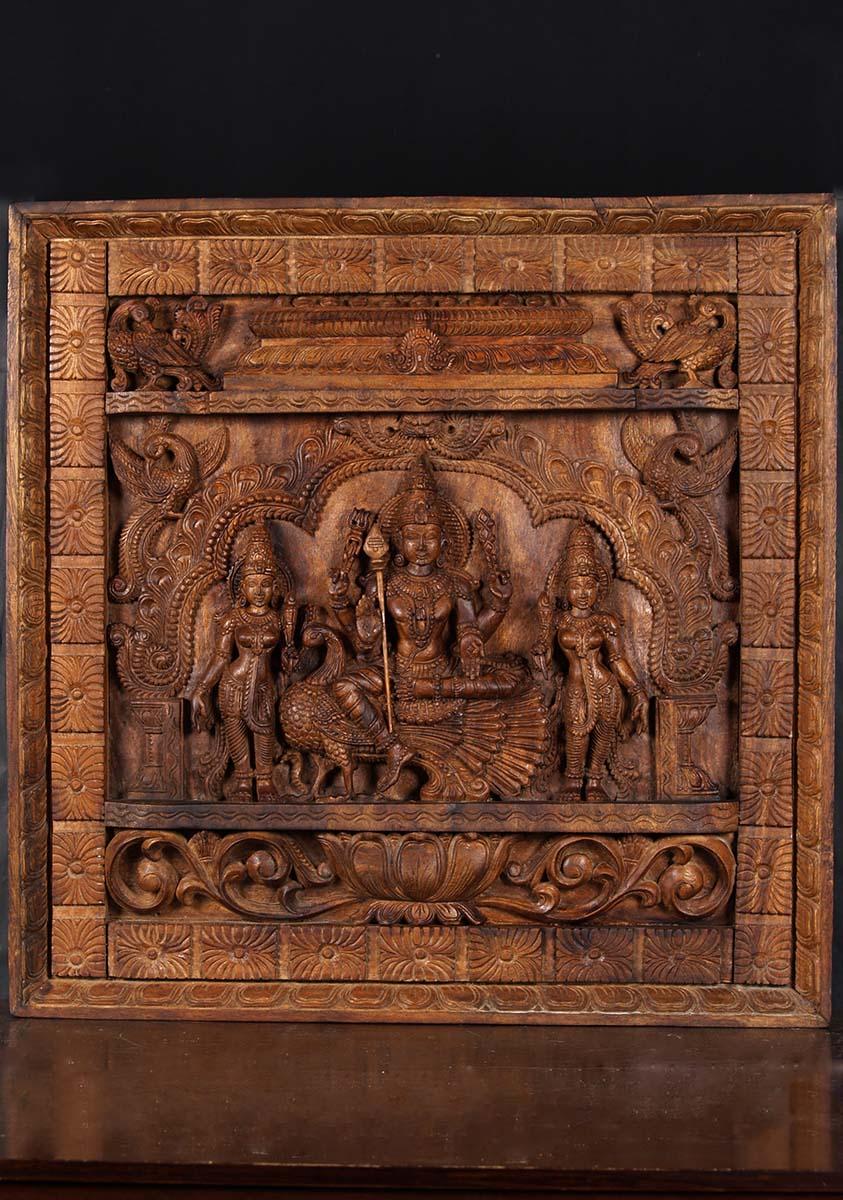 Sold Wooden Hindu Murugan Wall Panel 30 Quot 76w20d Hindu