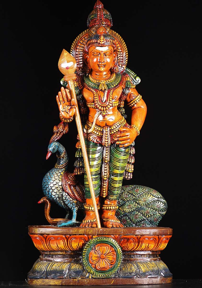 Sold Wooden Murugan Statue With Peacock 30 Quot 76w19w