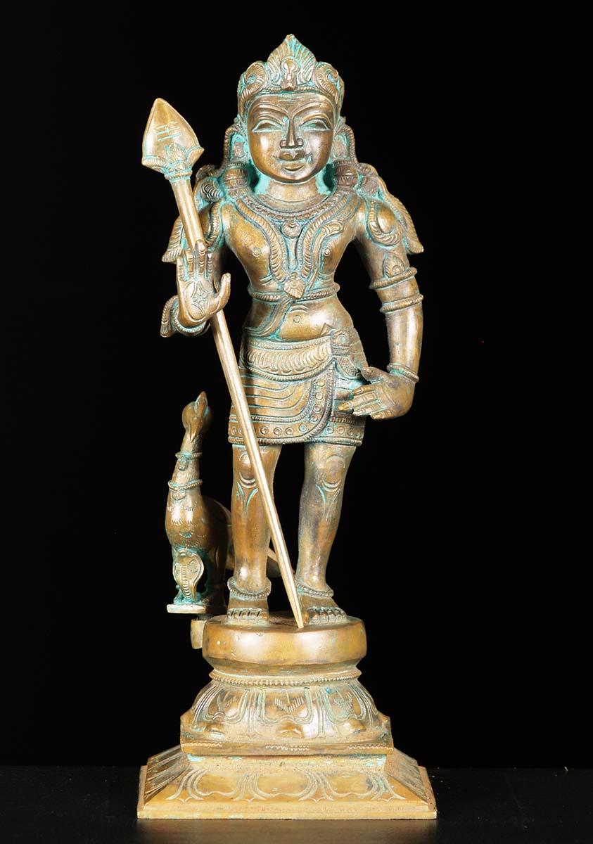 "SOLD Bronze Murugan With Spear Statue 12"" (#74b41): Hindu ..."