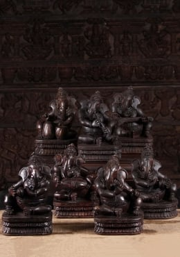 Wooden Musical Ganesh Set of 7 Statues 12