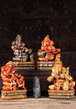 Wooden Musical Ganesha Set of 4 Statues 12