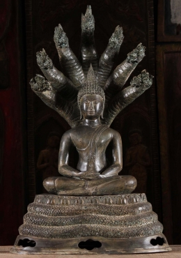 Brass Meditating Naga Buddha Sculpture 32