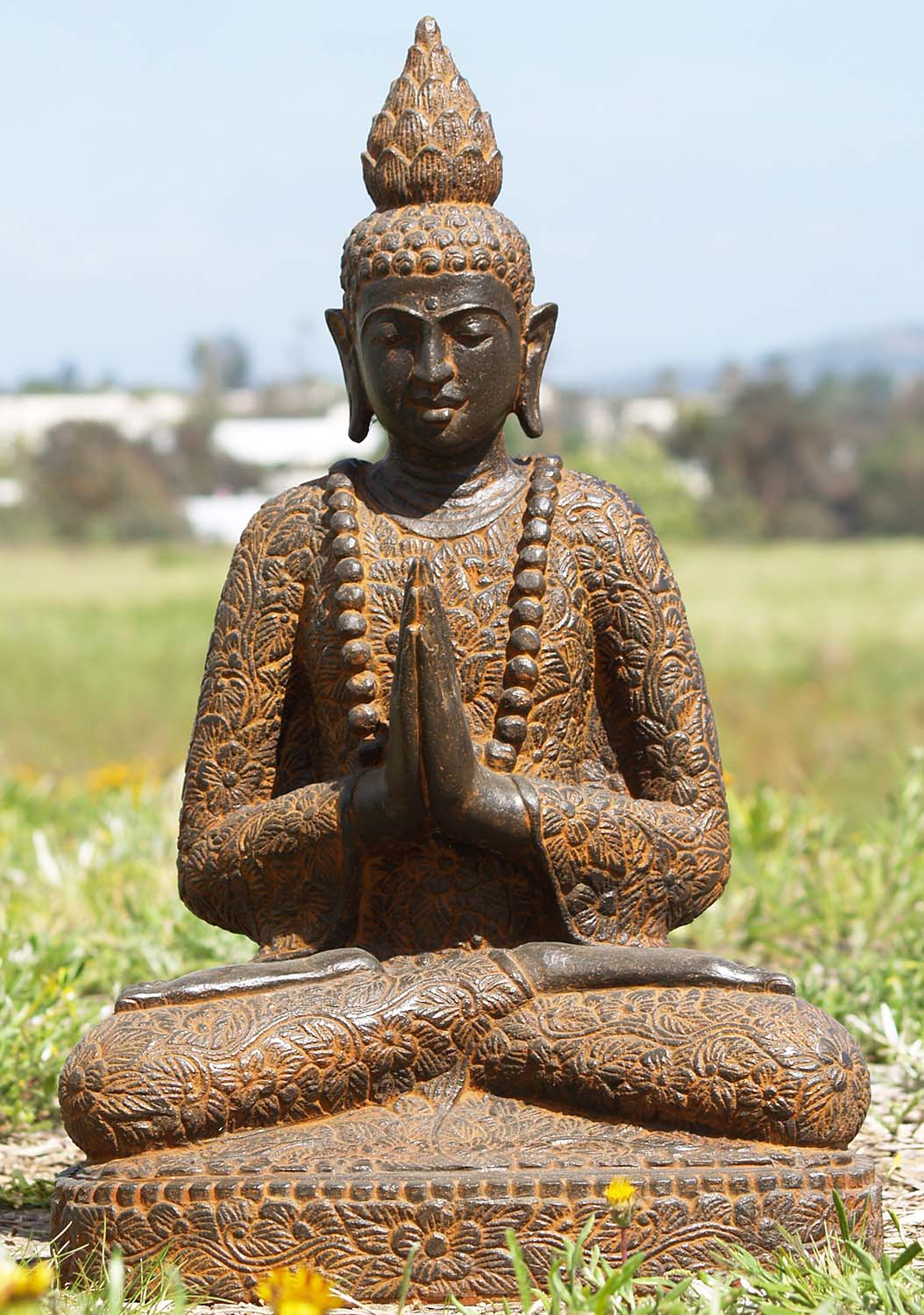 sold stone namaste garden buddha statue 25 86ls175. Black Bedroom Furniture Sets. Home Design Ideas