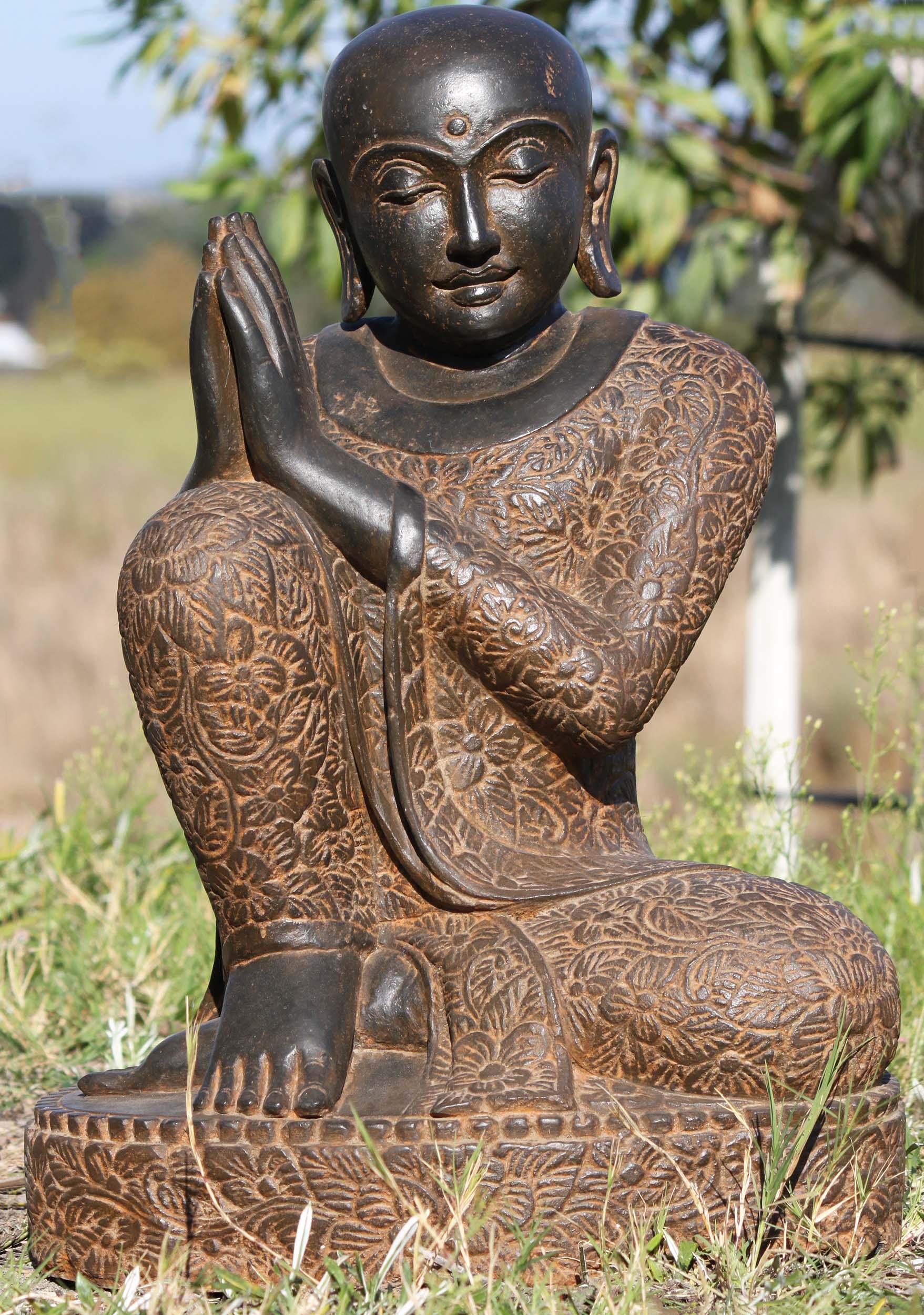 Stone Namaste Buddha Wearing Brocade Robes 24 102ls369 Hindu