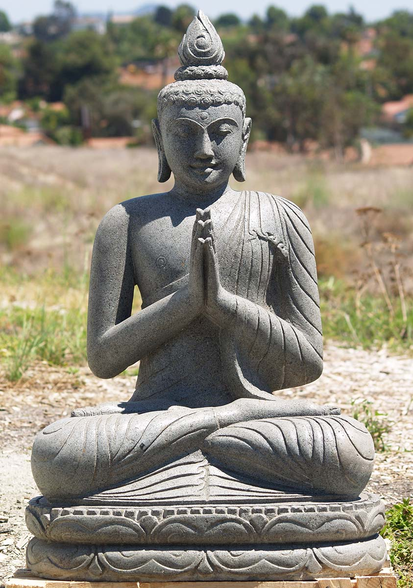 sold stone namaste garden buddha statue 32 85ls154. Black Bedroom Furniture Sets. Home Design Ideas