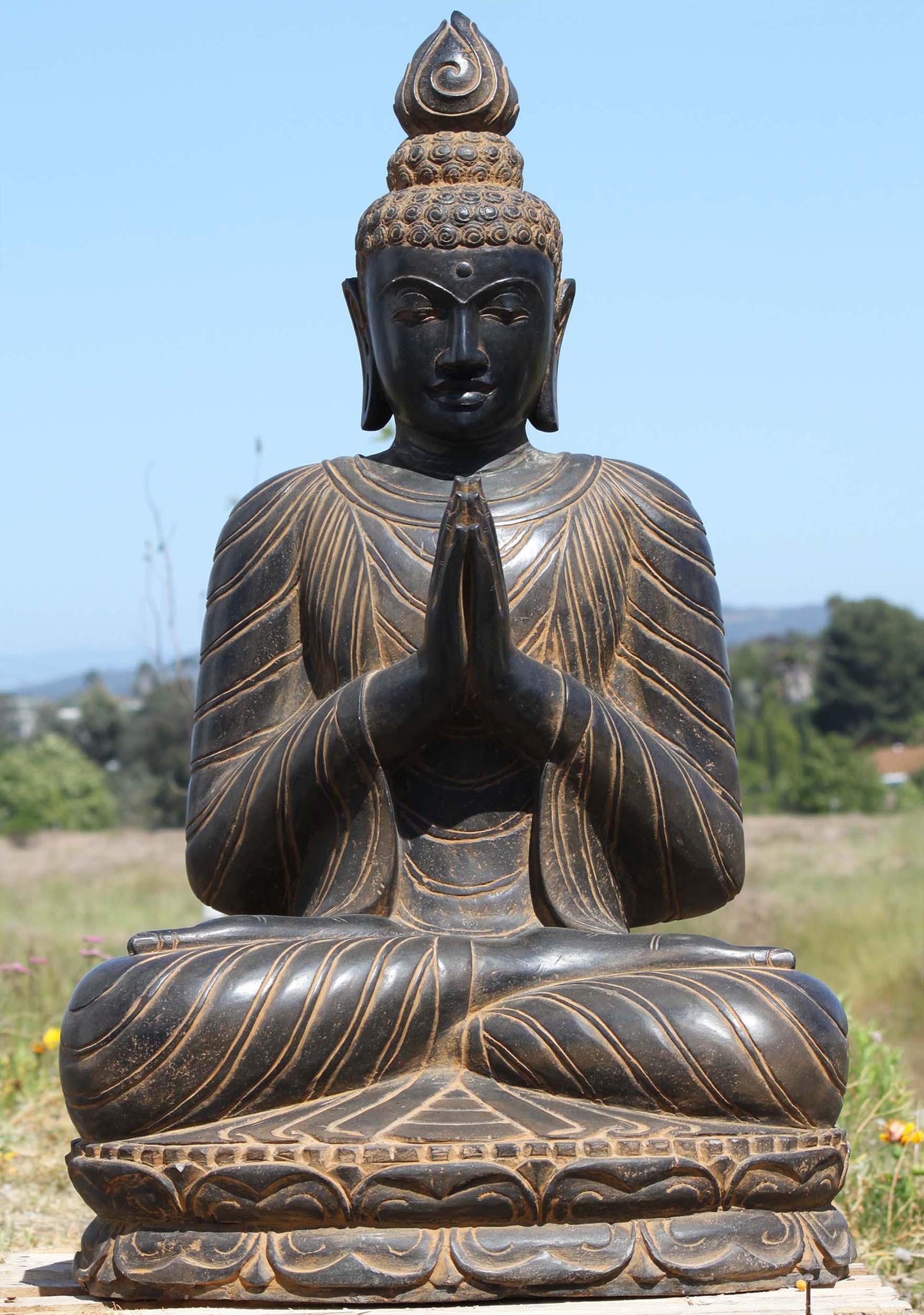 sold stone namaste garden buddha sculpture  ls