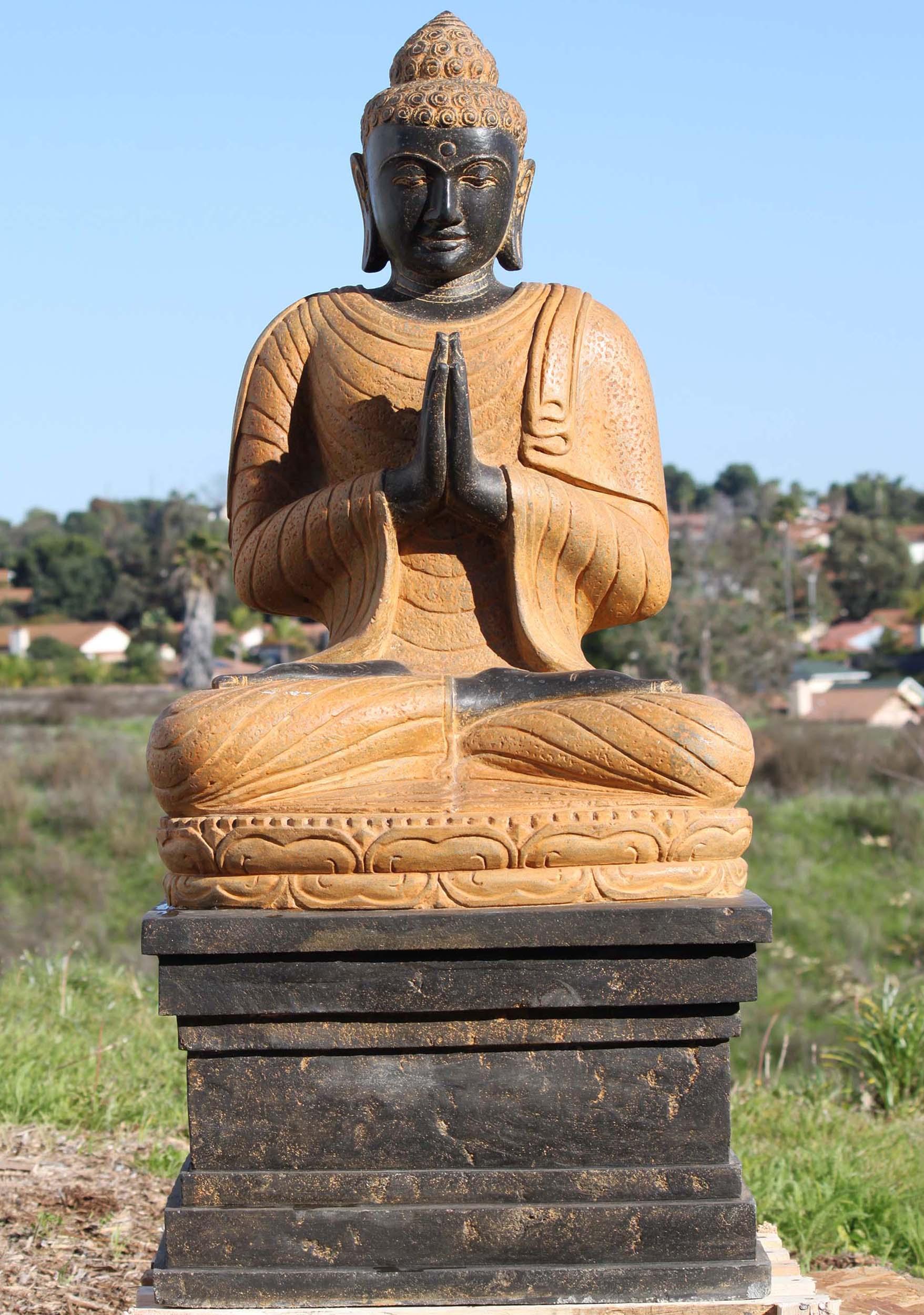Sold Stone Namaste Buddha Statue On Large Throne 46 97ls287