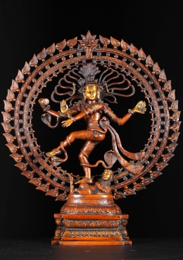 Brass Dancing Nataraja Statue with Cobras 27