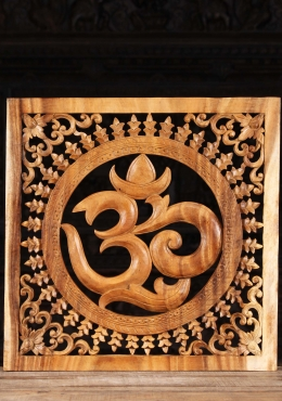 Wood OM Sign Wall Panel with Floral Designs 24