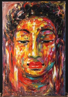 Oil on Canvas Cambodian Buddha Painting 47