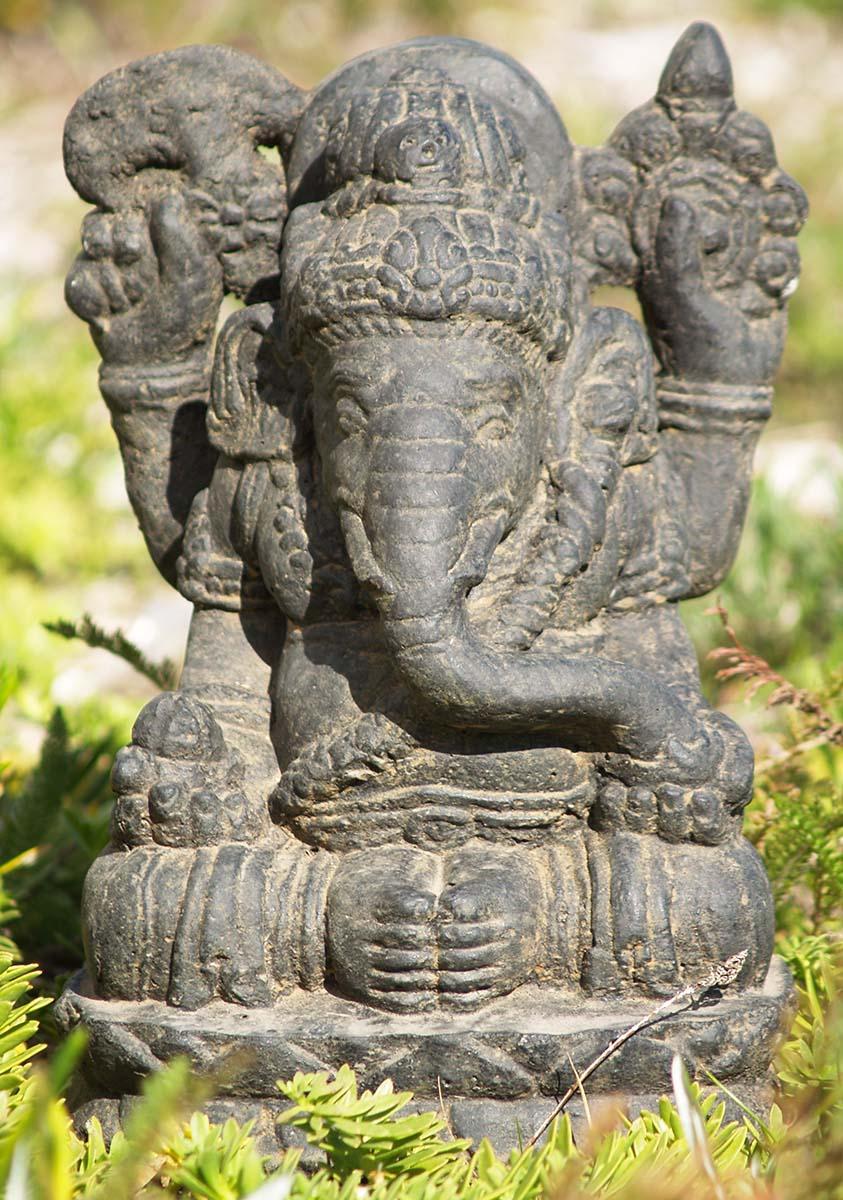 Lava stone and resin garden ganesha quot vc z hindu