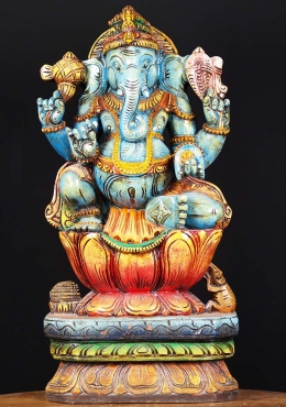 Wooden Blue Ganapathi Statue 24