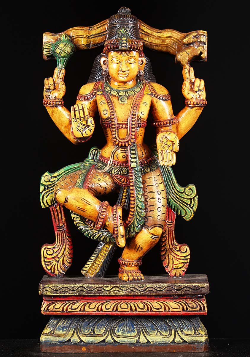 "Ups Ground Shipping Time >> SOLD Wooden Painted Dancing Shiva Statue 24"" (#76w1fj ..."