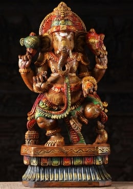 Wooden Dancing Ganesha Sculpture 24
