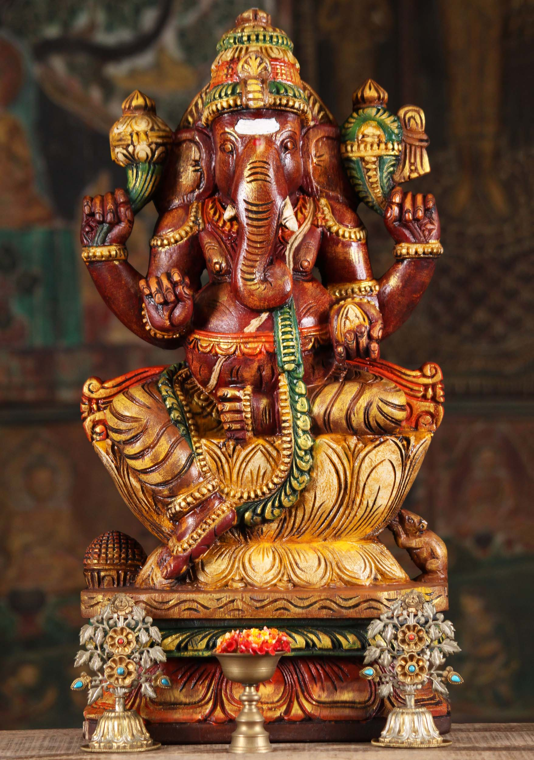 Sold Wooden Red Ganapathi Statue On Lotus Base 24