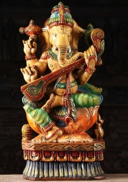 Wooden Ganesha Statue Playing the Veena 24