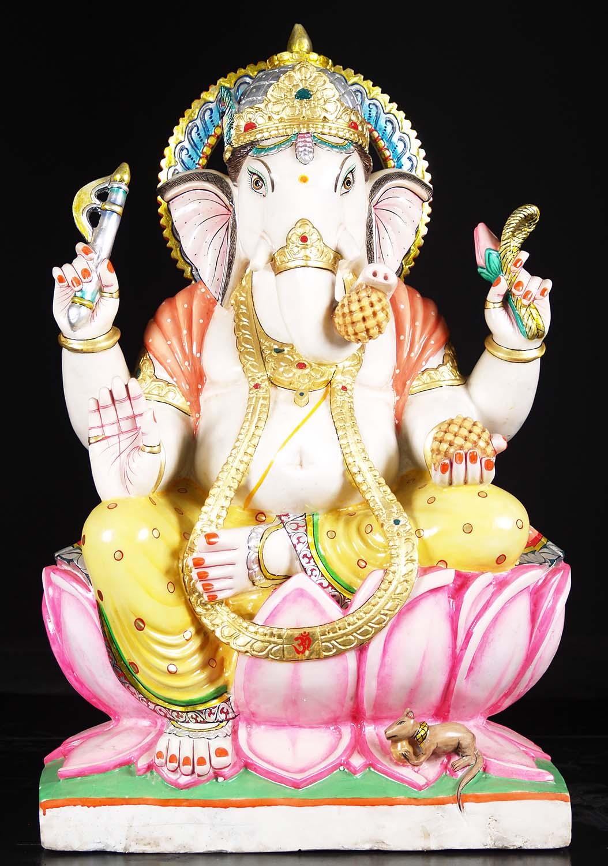 White Marble Painted Ganesh Statue 35 Quot 71wm39b Hindu