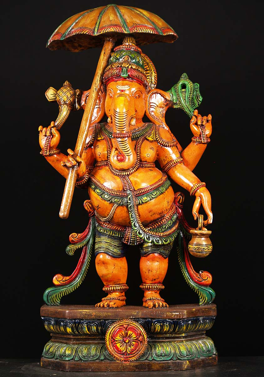 Sold Wood Painted Ganesh Holding Umbrella 36 Quot 76w2be