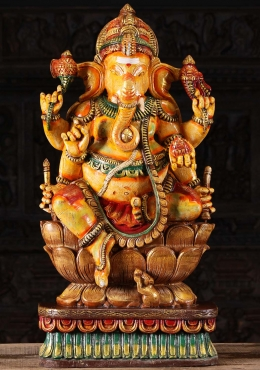 Wooden 6 Armed Ganesha Sculpture 36