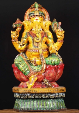 Wooden Ganesh Statue on Red Lotus 24