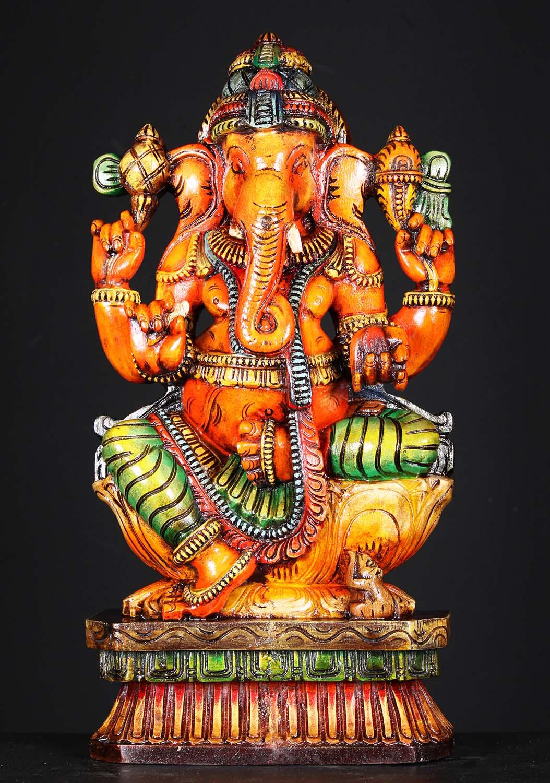 "SOLD Wooden Ganesha with Mooshika the Rat 24"" (#76w1jg ..."