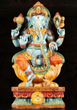 Wood Blue Ganapathi Statue with Rat 24