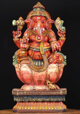 Wood Painted Ganapathi Statue 24