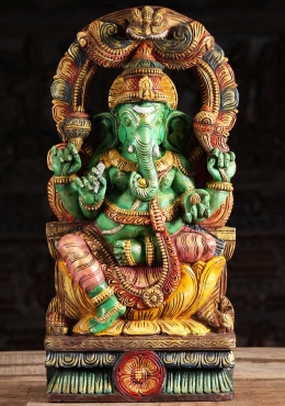 Painted Wood Green Ganesha with Arch 24