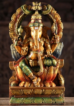 Wood Painted Ganesha Statue with Arch 18