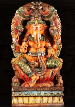 Wood Ganesh Statue with Mooshika & Arch 24