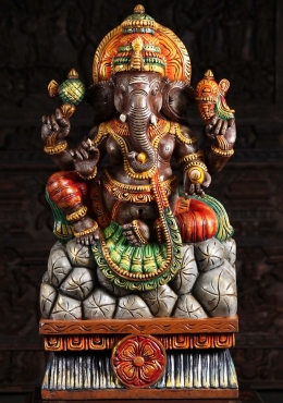 Painted Wood Ganesh Seated on Mountain 35