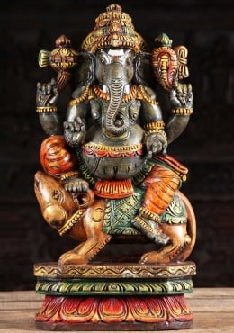 Painted Wood Ganesh Riding Rat Statue 24