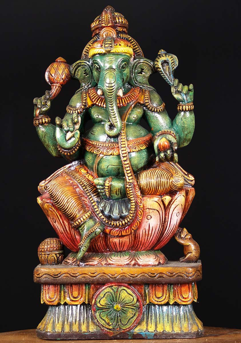 Sold Wood Green Ganesh Sculpture 24 Quot 76w1eh Hindu Gods