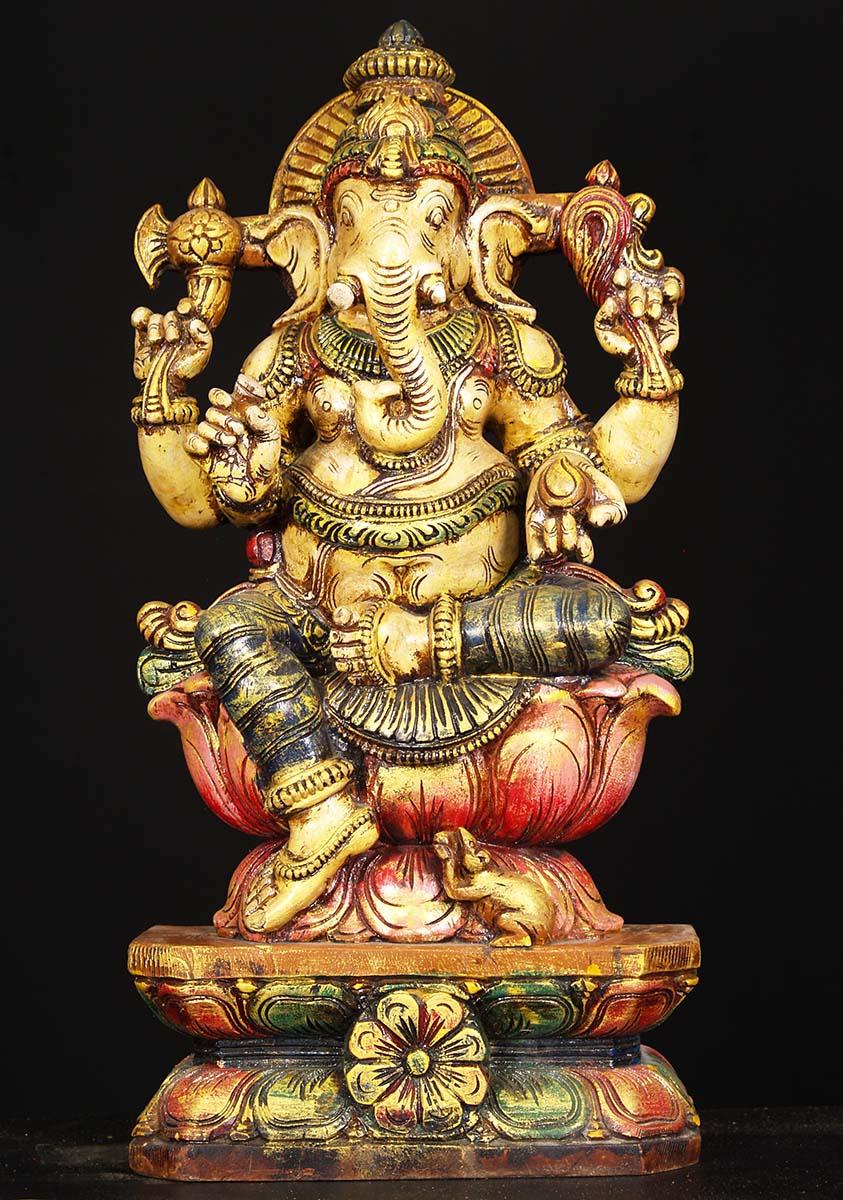 Sold Painted Wood Ganesh Statue 24 Quot 76w1dj Hindu Gods